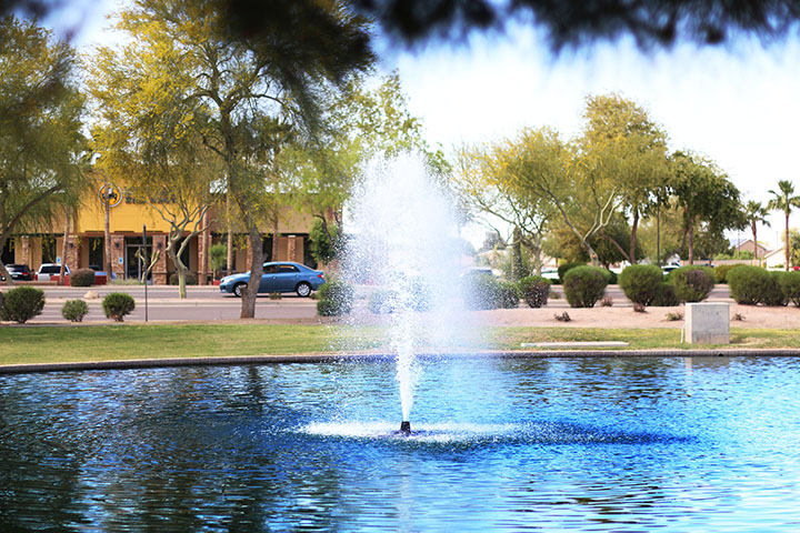 03252014 - View of the landscaping and fountain on the south side of Gilbert Town Hall in Gilbert, Ariz.  Photo by Alec Damiano / JMC 351