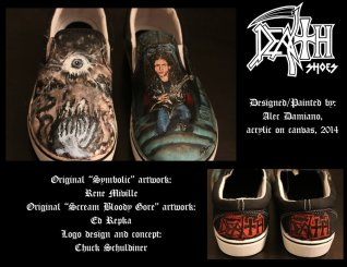 Custom hand-painted Death/Chuck Schuldiner shoes. Acrylic on canvas.
