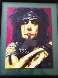 Nikki Sixx portrait. Acrylic on canvas.