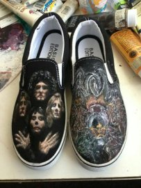 Custom hand-painted Queen shoes. Acrylic on canvas.